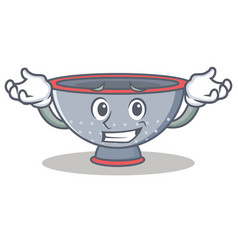 Grinning colander utensil character cartoon vector