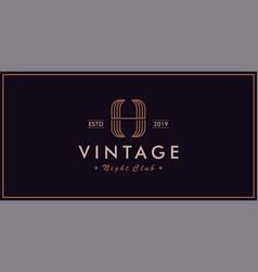 h vintage logo night club vector image