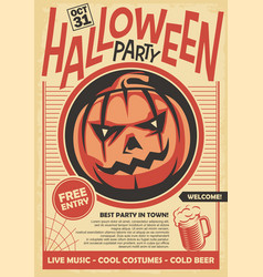 halloween party poster and invitation card design vector image