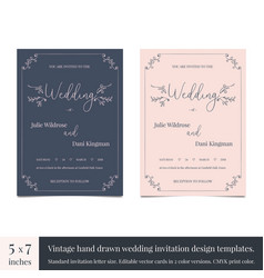 Hand drawn doodle wedding invitations design vector