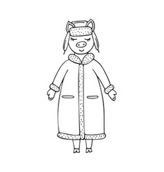 hand-drawn monochrome pig in a winter coat and hat vector image