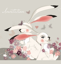 hand drawn with cute rabbits and field vector image