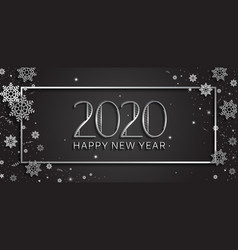 Happy new year 2020 silver color with glitter vector