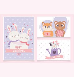 happy valentines day greeting cards rabbit bear vector image