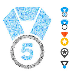 Hatch collage 5th place medal icon vector