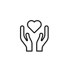 Heart in hands icon on white background vector