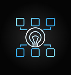 Hierarchy with bulb colored line icon start-up vector