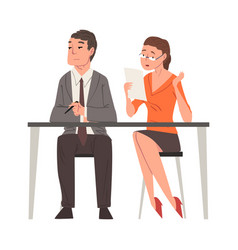 hr managers sitting at desk at headhunting agency vector image