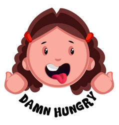 Hungry girl on white background vector