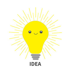 idea light bulb icon with happy face shining line vector image