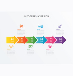 infographics arrow number 6 step template vector image