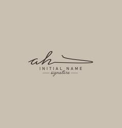 Initial letter ah logo - hand drawn signature logo vector