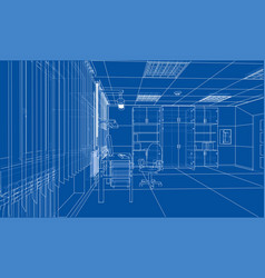 interior sketch rendering of 3d vector image