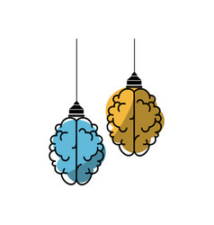 Isolated abstract two brain vector