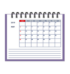 Isolated may page 2019 planner calendar vector