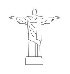 Line icon christ redeemer rio de vector