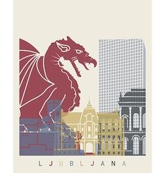 Ljubljana skyline poster vector