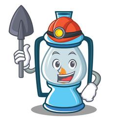 Miner lantern character cartoon style vector