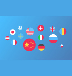 national flags in round shape usa and china set vector image