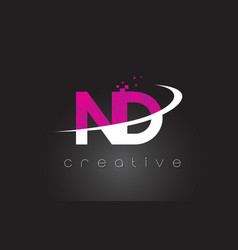 Nd n d creative letters design with white pink vector
