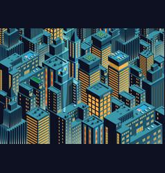 Night new york isometric perspective cartoon vector