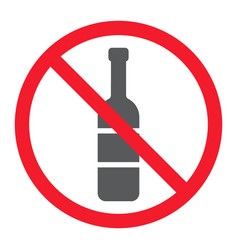 no alcohol glyph icon prohibition and forbidden vector image