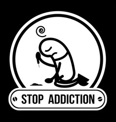 No drugs label campaign stop addiction cocaine vector