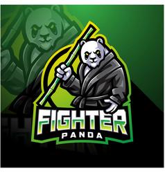 Panda fighter esport mascot logo design vector