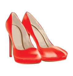 Red shoes patent leather vector