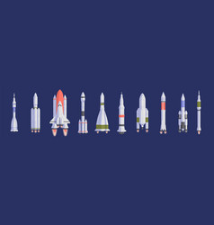 rockets and spaceships flat vector image
