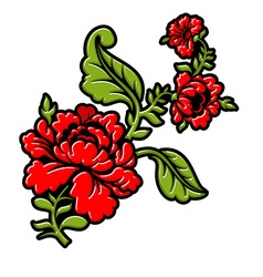 Rose on branch on white background Isolated floral vector image vector image
