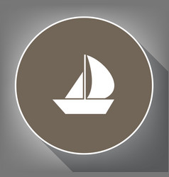 sail boat sign white icon on brown circle vector image
