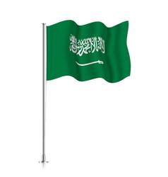 Saudi arabia flag waving on metallic pole vector