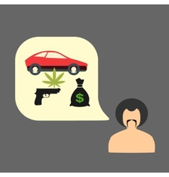 Set gangster money weapons drugs vector