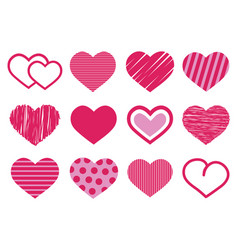 Set of 12 various cute red and pink heart vector