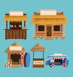 Set of beach kiosk vector