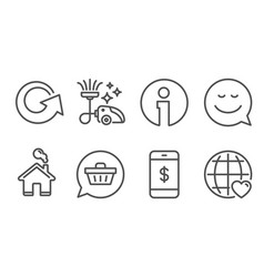 Shopping cart smartphone payment and smile icons vector