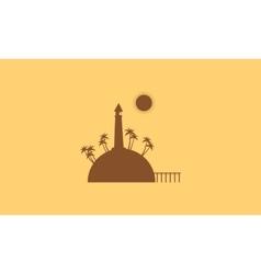 Silhouette of island and bridge landscape vector