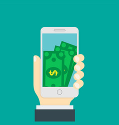 smartphone screen with money internet banking vector image