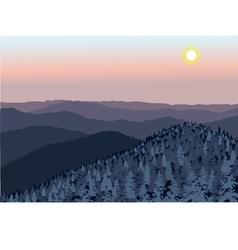 Smoky Mountain sunset vector