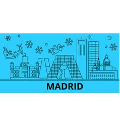 Spain madrid winter holidays skyline merry vector