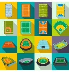 Stadium flat icons set vector image