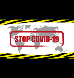 stop coronavirus banner with prohibition sign vector image