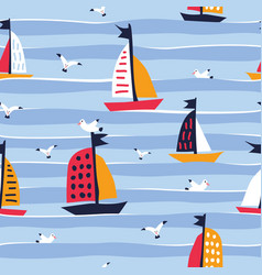 summer seamless pattern with cute ships creative vector image
