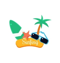 Surfing summer vacation vector