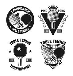 table tennis set four vintage emblems vector image