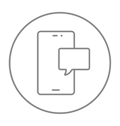 Touch screen phone with message line icon vector