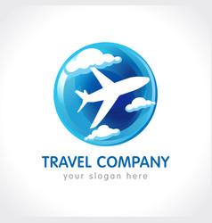 travel company globe logo vector image