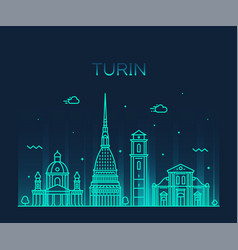 turin skyline northern italy trendy style vector image