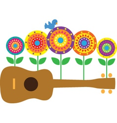 Ukulele flowers vector